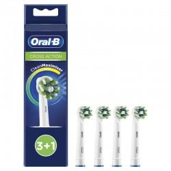 4 Oral B keičiamos šepetėlių galvutės Cross Action CleanMaximizer Braun